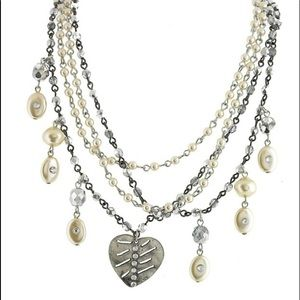 Multi Chain Layers Of Silver, Crystal & Pearls,NWT